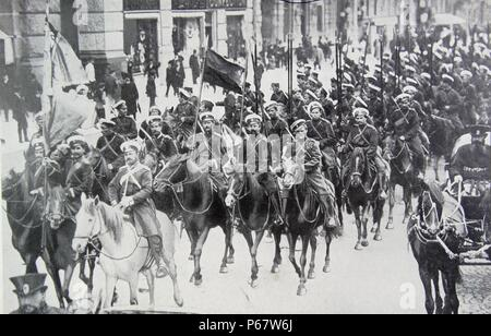 Russian Cavalry in St Petersburg in 1914 during world war one - Stock Photo