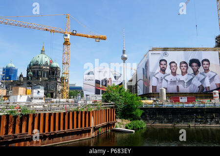 GERMANY, Berlin, large Samsung advertisement with german soccer team during Fifa world championship 2018 in Russia - Stock Photo