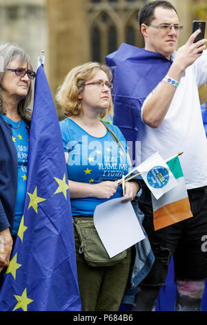 A Pro remain in the EU supporter / protester carrying an irish flag is pictured at an anti Brexit protest rally and march in Bristol 14/10/2017 - Stock Photo