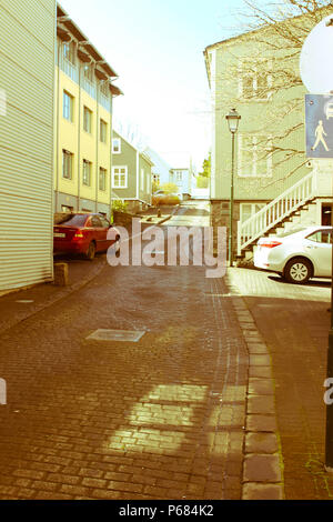 A street in central part of Reykjavik, Iceland with a retro view. - Stock Photo