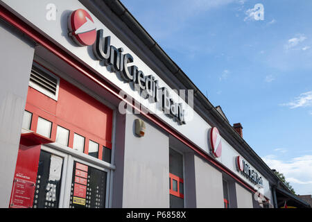 BELGRADE, SERBIA - JUNE 17, 2018: Logo of the UniCredit Srbija Bank on their main agency for the suburb of Zemun. Unicredit is an Italian bank spred i - Stock Photo