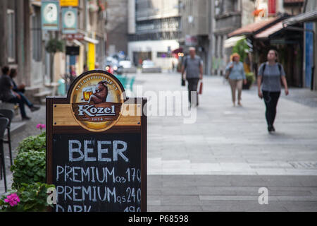 BELGRADE, SERBIA - JUNE 17, 2018:  Kozel beer logo in a pedestrian street with the prices of the different beers of the brand. Kozel is one of the mos - Stock Photo