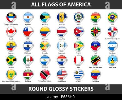 Flags of all countries of American continents. Round Glossy Stickers - Stock Photo