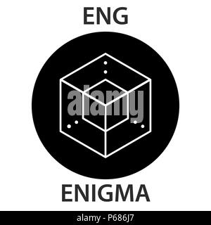 Enigma Coin cryptocurrency blockchain icon. Virtual electronic, internet money or cryptocoin symbol, logo - Stock Photo