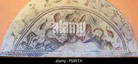 Jaen, Spain - December 29th, 2017: Roman Mosaic depicting sea-goddess Tethys. Jaen Museum - Stock Photo