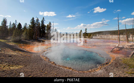 Firehole Spring on Firehole Lake Drive in Yellowstone National Park in Wyoming United States - Stock Photo