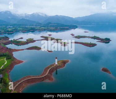 (180628) -- BEIJING, June 28, 2018 (Xinhua) -- Aerial photo taken on Sept. 23, 2017 shows the scenery of the Qiandao Lake in Chun'an County, east China's Zhejiang Province. Comprehensive progress has been made since the report delivered at the 18th National Congress of the Communist Party of China (CPC) in 2012 included ecological development as a major task in the country's overall plan and proposed building a 'beautiful China' as a grand goal.  (Xinhua/Xu Yu) (wyo)(zt) - Stock Photo