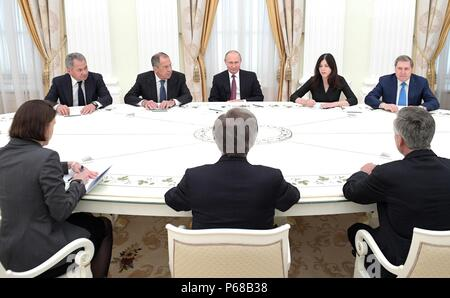 Moscow, Russia. 27th June, 2018. Russian President Vladimir Putin meets with U.S. National Security Advisor John Bolton in the Kremlin June 27, 2018 in Moscow, Russia. Credit: Planetpix/Alamy Live News - Stock Photo