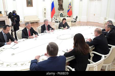 Moscow, Russia. 27th June, 2018. Russian President Vladimir Putin meets with U.S. National Security Advisor John Bolton, left, in the Kremlin June 27, 2018 in Moscow, Russia. Credit: Planetpix/Alamy Live News - Stock Photo