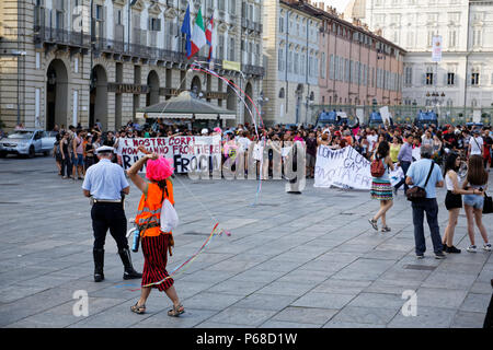 """Turin, Italy. 28 June, 2018. People at the """"Nessun* norma"""" demonstration against border management and decency. MLBARIONA/Alamy Live News - Stock Photo"""