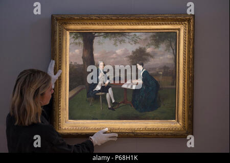 Bonhams New Bond Street, London, UK. 29 June, 2018. James, 20th Earl of Kildare and his Wife by Arthur Devis (1711-1787) estimated at £80,000-120,000 in the Old Masters sale preview. Painted in 1753, the work shows the future 1st Duke of Leinster and his wife seated in the grounds of Carton, his wife Emily holds in her hands the designs for a new bridge. . The painting is one of five important works being sold by the Duke of Leinster. The sale takes place on Wednesday 4 July 2018 at 2pm. Credit: Malcolm Park/Alamy Live News. - Stock Photo