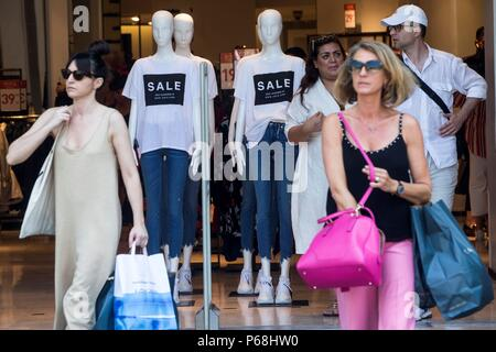 Manikins announce summer sales on the first day in Barcelona, Spain, on 29 June 2018. Summer sales season in Spain usually brings large discounts in July and August. EFE/ Quique Garcia - Stock Photo