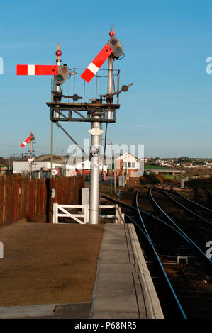 The Great Western Railway. View from Up platform of St Erth station showing line diverging left to branch and branch signal set for exit from bay plat - Stock Photo