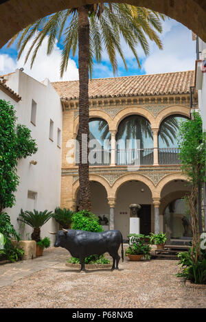 Cordoba Taurino, view of the typically Andalucian patio courtyard of the Bullfighting Museum (Museo Taurino) in Cordoba (Cordova), Andalucia, Spain. Stock Photo