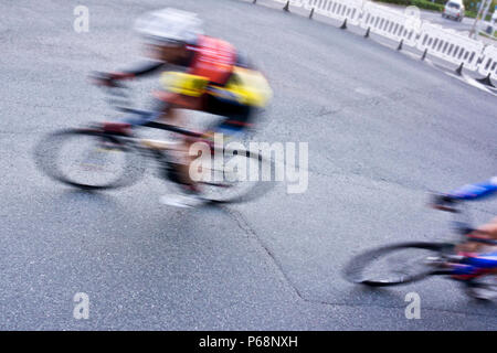 road bicycle racing sprint, motion blur effect - Stock Photo
