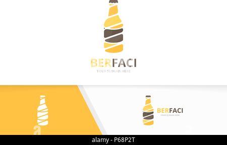Vector bottle logo combination. Beer symbol or icon. Unique alcohol logotype design template. - Stock Photo