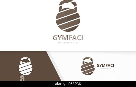 Vector sport logo combination. Gym symbol or icon. Unique fitness logotype design template. - Stock Photo