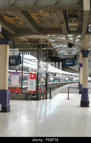The robustness of early station construction makes its difficult to add on modern technical equipment that is so much part of the contemporary operati - Stock Photo