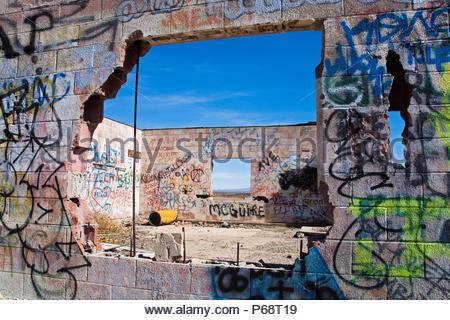 Graffiti covered Gas Station, Route 66, Amboy, California, USA - Stock Photo