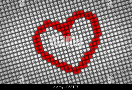 Red Heart Symbol Beating On Big Led Display With Large Pixel Heart