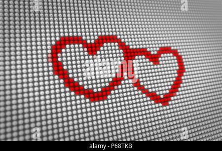 Red Hearts Icons Beating On Big Led Display With Large Pixel Hearts