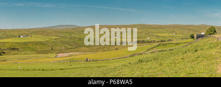 North Pennines AONB Panoramic Landscape, West to southwest over Harwood, Upper Teesdale from Greenhills Farm - Stock Photo