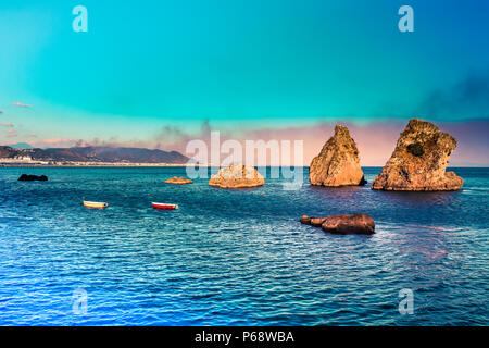 Vietri sul Mare - where Amalfi coast begins. Picturesque summer seascape with 3 rocks on water and mountains. Italy - Stock Photo