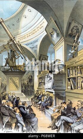 The universal church of the future - from the present religious outlook.' Illustration shows an interior view of a hall in a museum with four men sitting quietly beneath a shelf of 'Books of Religious Reference'; there is a small crowd gathered before them. Further along the hall is another group of four men sitting quietly beneath a shelf of 'Books of Scientific Reference'; part of the display, labelled 'Geography', shows an owl perched on an open book labelled 'Kosmos' and a man standing next to a globe. - Stock Photo