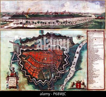Map showing the fortifications of Danzig; Dated to 1687 - Stock Photo