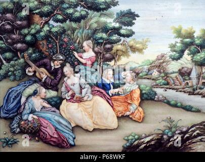 Plaque depicting scene with European people for a Dutch traders home in Canton made circa 1770-1775. Showing Dutch trade with China in 18th Century - Stock Photo