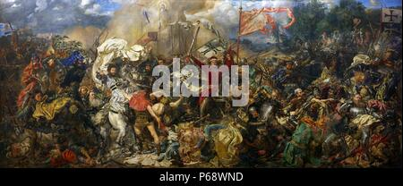 Battle of Grunwald by Jan Matejko (1878). The Battle of Grunwald, First Battle of Tannenberg or Battle of Žalgiris, was fought on 15 July 1410, during the Polish–Lithuanian–Teutonic War. The alliance of the Kingdom of Poland and the Grand Duchy of Lithuania, led respectively by King Wladyslaw Jagiello (Jogaila) and Grand Duke Vytautas, decisively defeated the German–Prussian Teutonic Knights, led by Grand Master Ulrich von Jungingen - Stock Photo