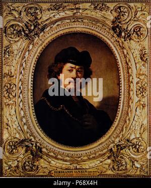 Self-portrait of Rembrandt Harmenszoon van Rijn (1606-1669) Dutch painter and etcher. Dated 17th Century - Stock Photo