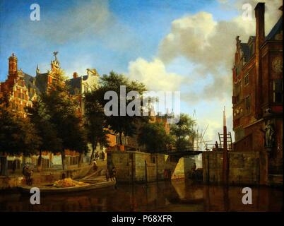 Painting of Amsterdam City View with Houses on the Herengracht and the old Haarlemmersluis. Painted by Jan van der Heyden (1637-1712). Dated 17th Century - Stock Photo