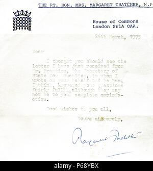 Letter from Margaret Thatcher (1925-2013) Prime Minister of the United Kingdom and leader of the Conservative Party. Dated 1975 - Stock Photo
