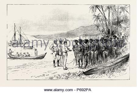 THE KANAKA LABOUR QUESTION IN QUEENSLAND: RECRUITING: TRADERS PERSUADING THE ISLANDERS TO EMBARK FOR QUEENSLAND, AUSTRALIA, 1892 engraving. - Stock Photo