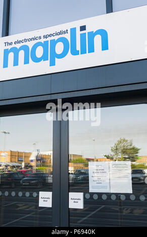 Maplin which began trading in 1972 entered administration on 28th February 2018 and all stores closed in June 2018 after a buyer could not be found... - Stock Photo