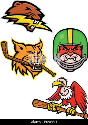 Sports mascot icon illustration set of heads of American wildlife like the North American beaver with lightning bolt, bobcat or lynx cat with ice hock - Stock Photo