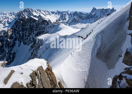 Aiguille du Midi ridge leading to the White Valley in Winter. Chamonix Mont Blanc, Hautes-Savoie, European Alps, France - Stock Photo