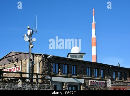 The summit of the Brocken in the Harz National Park in Germany - Stock Photo