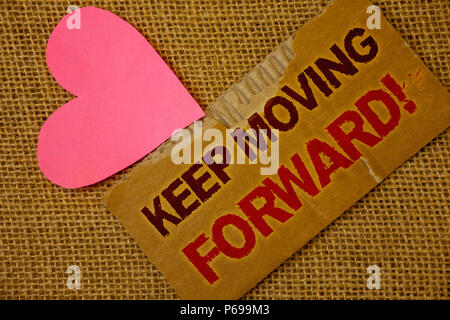 Word writing text Keep Moving Forward Motivational Call. Business concept for Optimism Progress Persevere Move Torn thick paper blood and pigment red  - Stock Photo