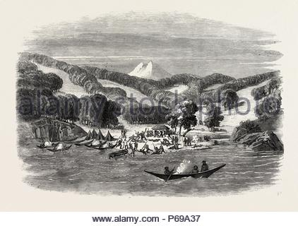 MASSACRE OF A MISSION PARTY OF THE ALAN GARDINER BY THE NATIVES AT WOOLYA, TIERRA DEL FUEGO, 1860 engraving. - Stock Photo