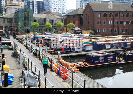 Attractive Gas Street Basin in Birmingham in the Midlands in the UK. The heart of the canal network, the towpaths are lined with bars and pubs, UK - Stock Photo