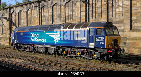 Direct Rail Services diesel engine 57309 Pride Of Crewe, at Carlisle Station,  Court Square, Cumbria, Carlisle, North West England, UK,  CA1 1QZ - Stock Photo