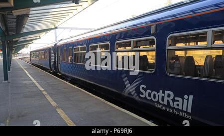 Scot Rail train, Carlisle to Glasgow via Dumfries, at platform One, North West England, UK, - Stock Photo