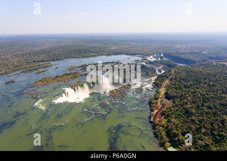 Helicopter view from Iguazu Falls National Park, Argentina. World heritage site. South America Adventure travel - Stock Photo