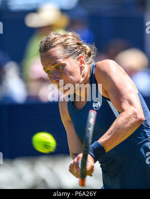 Barbora Strycova of the Czech Republic in action against Donna Vecic of Croatia during the Nature Valley International tennis tournament at Devonshire Park in Eastbourne East Sussex UK. 26 June 2018 - Stock Photo