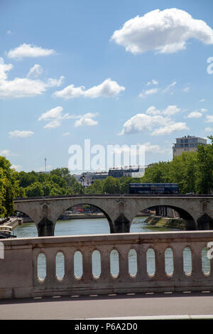 Views from Pont Louis Philippe across Pont Marie and beyond in Paris, France - Stock Photo