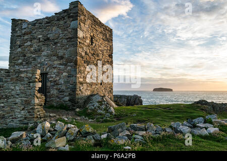 This is Dough Island Castle in Donegal Ireland.  the picture was taken just before the sunset - Stock Photo