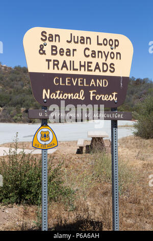 San Juan loop and Bear Canyon trailhead sign in the Cleveland National Forest, Southern California USA - Stock Photo