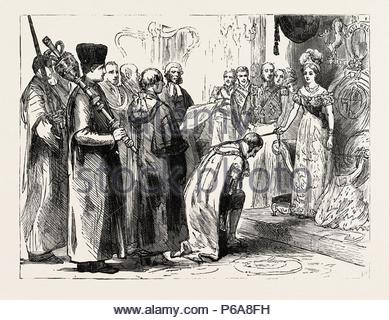 IN THE CITY, NOV. 9, 1837, HER MAJESTY KNIGHTING SIR MOSES MONTEFIORE. - Stock Photo